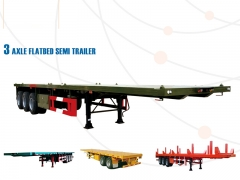 New Design Hot Sale Flatbed Semi Trailer for 20' 40', 40 Feet Flatbed Truck Trailer, 20ft Container Trailer